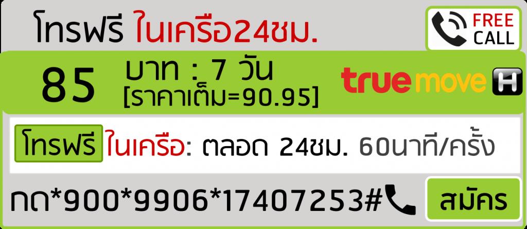โทรฟรีทรู 85บาท 7วัน 9906
