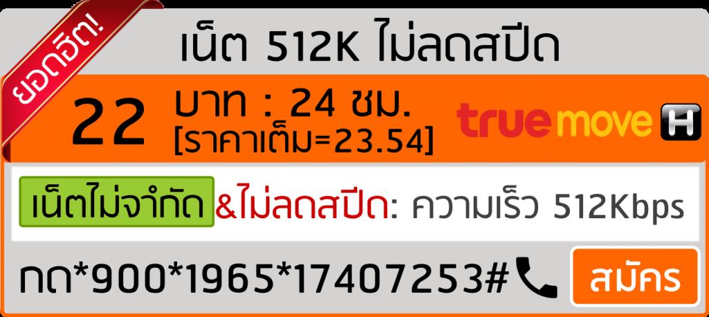 บุฟเฟต์เน็ต 512Kbps โปรเน็ตทรู 22บาท 24ชม.