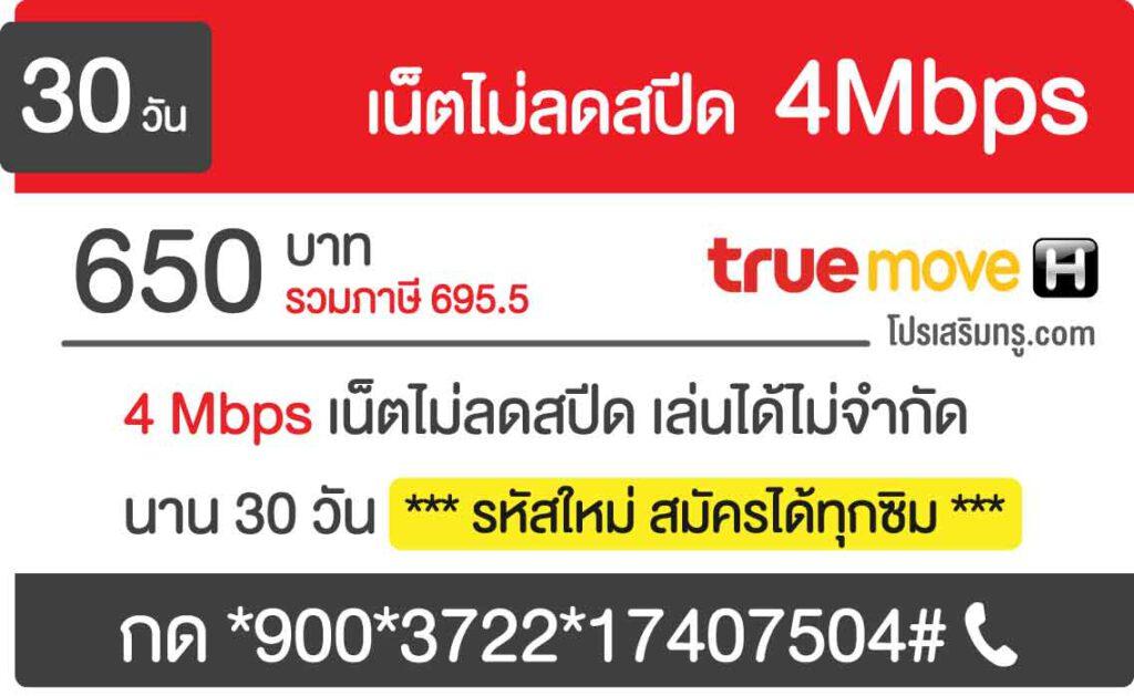 เน็ตไม่ลดสปีด 4Mbps 30 วัน 650 บาท