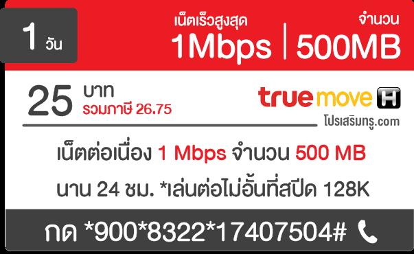 โปรเน็ตทรู 1 mbps 25 บาท 24 ชม.