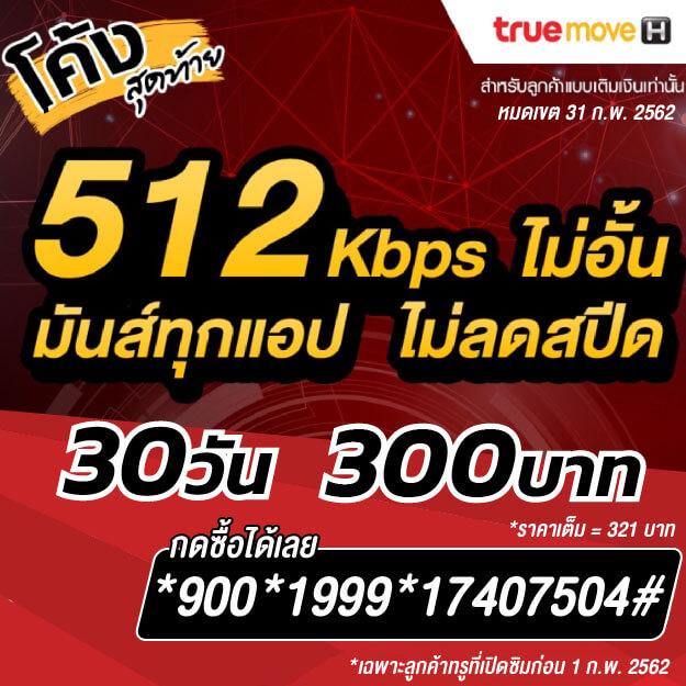 เน็ตทรูไม่ลดสปีด 512 Kbps 300 บาท เดิม 269 บาท