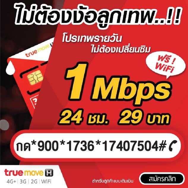 โปรเน็ตทรู 29 บาท 1 Mbps + WiFi ไม่ลดสปีด