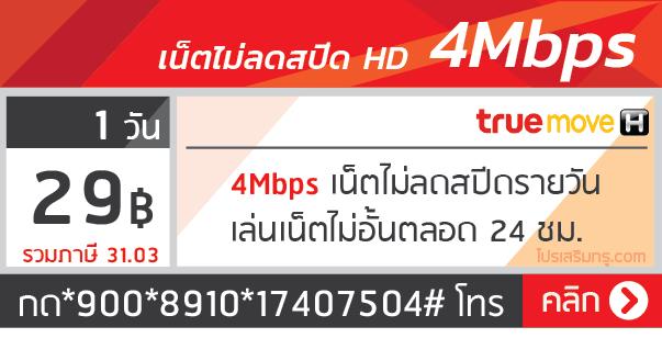 เน็ตทรู รายวัน 4 Mbps 29 บาท 1 วัน