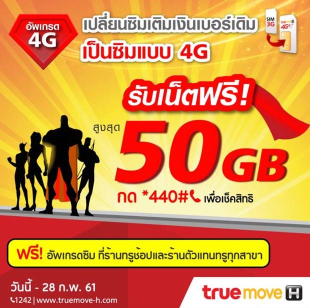 เน็ตทรูฟรี 50GB