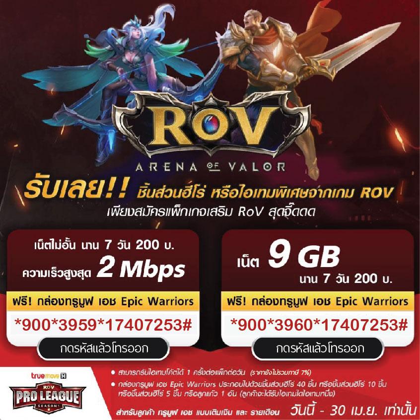 โปรเสริมทรู RoV เน็ต 2Mbps