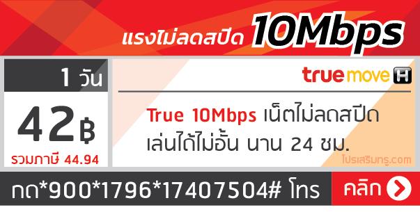 เน็ตทรู รายวัน 10 Mbps 1 วัน 42 บาท