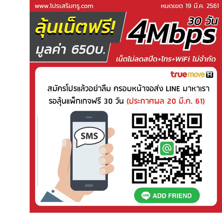 ฟรีเน็ตทรู 4Mbps 30 วัน