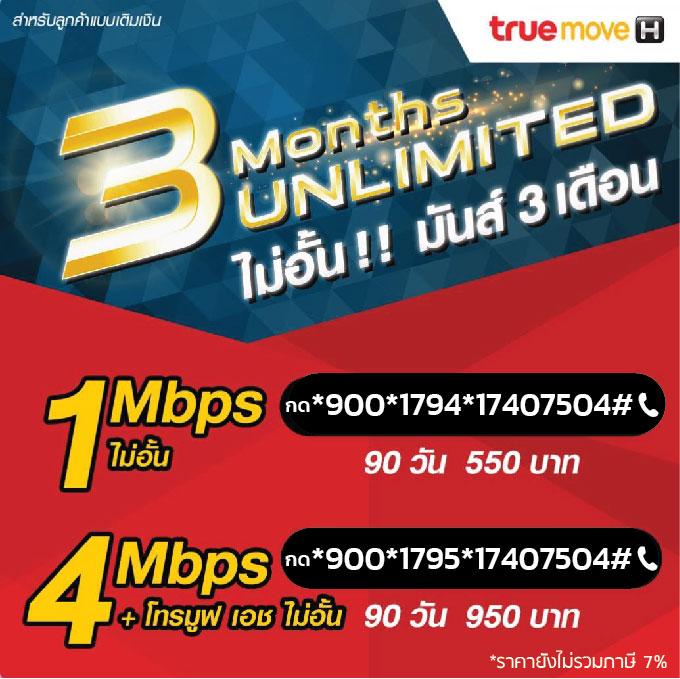 เน็ตทรู 1Mbps 4Mbps ไม่ลดสปีด