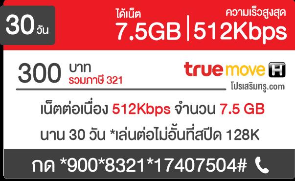 สมัครเน็ตทรู 300 บาท 512 K 30 วัน 7.5GB