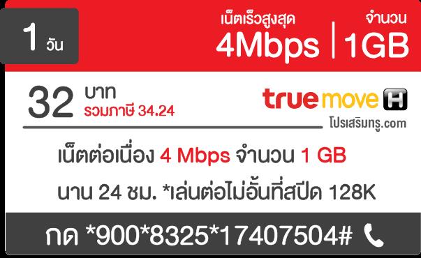 เน็ตทรู รายวัน 4 Mbps 32 บาท